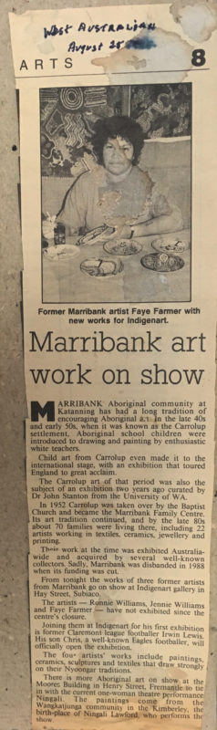 Newspaper clipping pasted to the back of the drawing recently donated to the Berndt Museum by Tim Dauth. The West Australian, 25th August 1988. Photograph: John Stanton, 8th May 2019.
