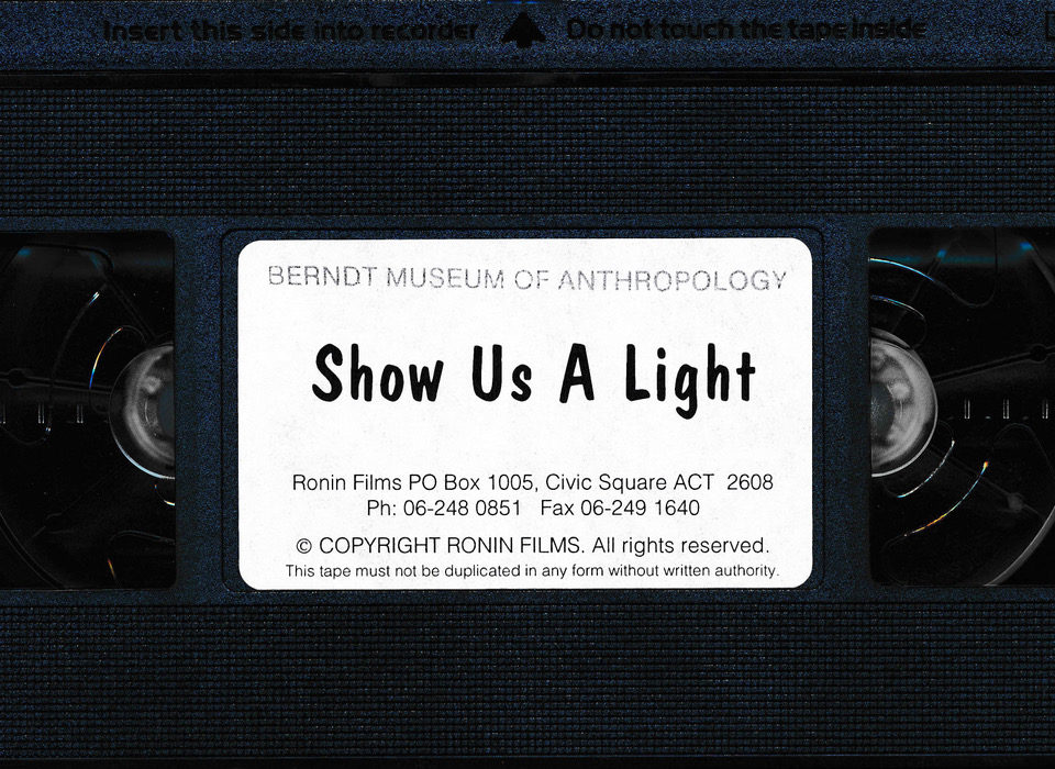 Videotape of the film about Carrolup, Show Us A Light, which was directed by Nancy Sokill and produced by Pat Nunn.