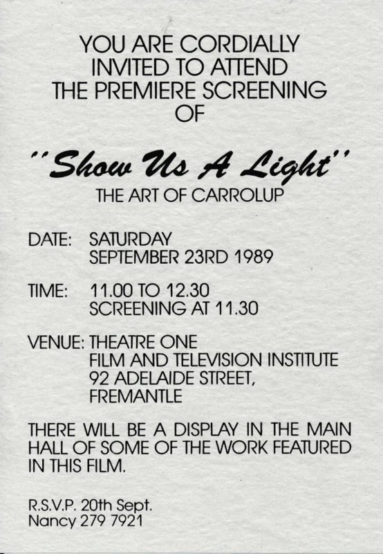 Publicity for the premier of Show Us A Light.